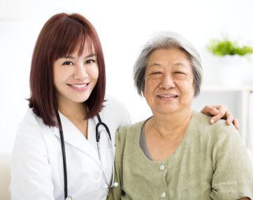 nurse and elder woman