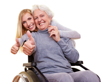 elder woman and a lady doing thumbs up